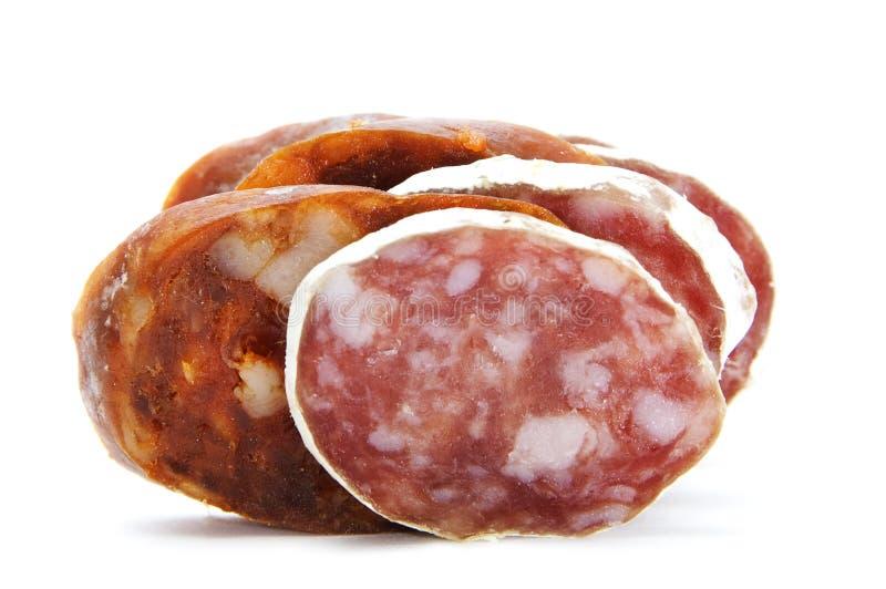 Spanish chorizo and salami. On a white background stock images