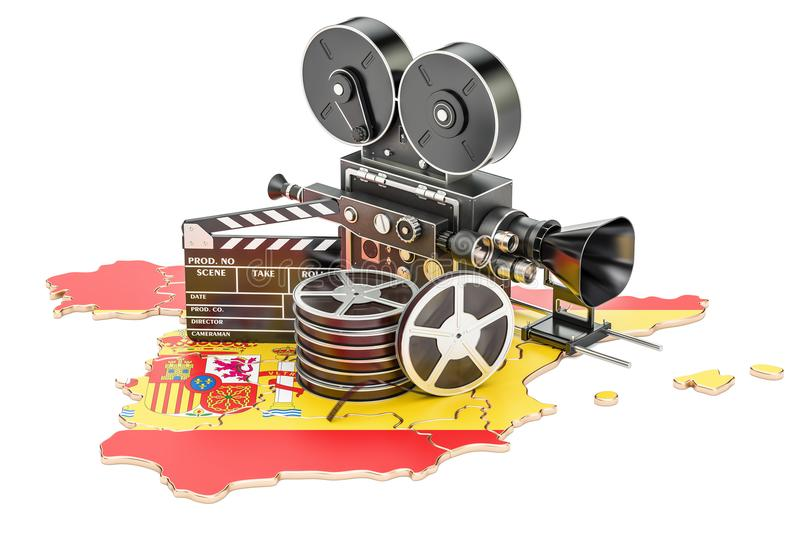 Spanish cinematography, film industry concept. 3D rendering. Isolated on white background royalty free illustration