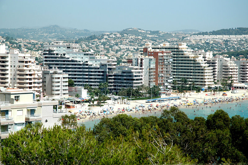 Spanish coast. With lot's of appartments stock images