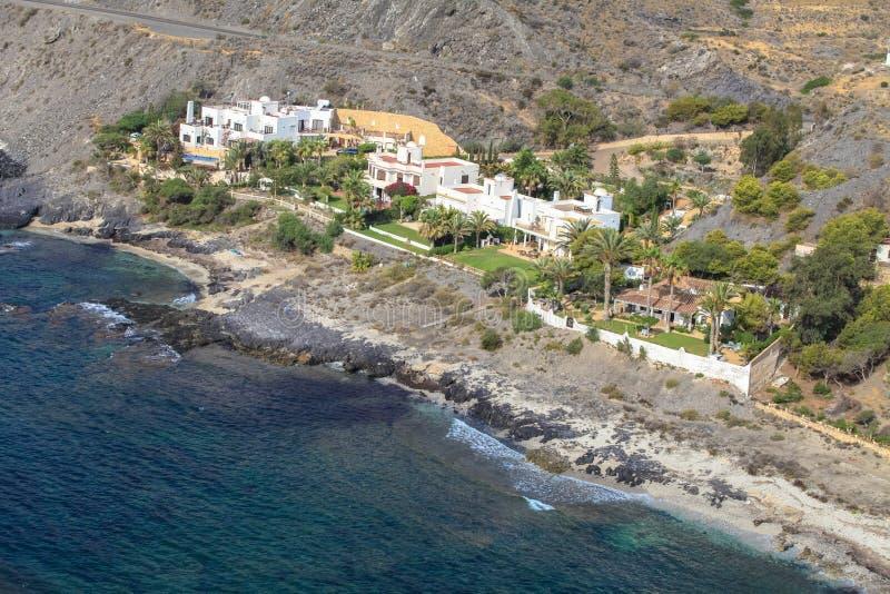 Spanish coast. Almería. Beautiful beaches to enjoy. Spanish coast. Aerial view. Almería, Andalucía. Beautiful beaches to enjoy royalty free stock photography