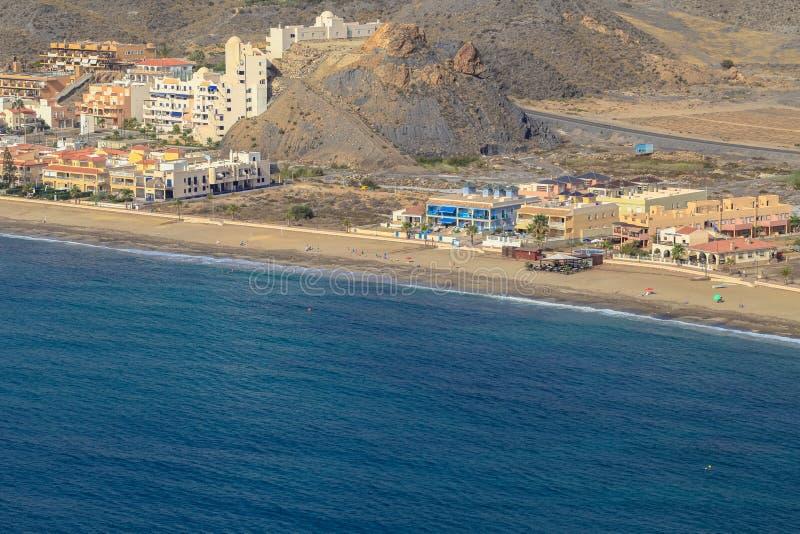 Spanish coast. Almería. Beautiful beaches to walk and enjoy. Spanish coast. Aerial view. Almería, Andalucía. Beautiful beaches to walk and enjoy royalty free stock photos