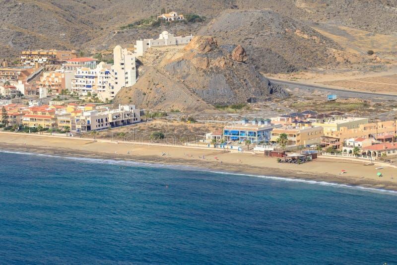 Spanish coast. Almería. Beautiful beaches to walk and enjoy. Spanish coast. Aerial view. Almería, Andalucía. Beautiful beaches to walk and enjoy stock photography