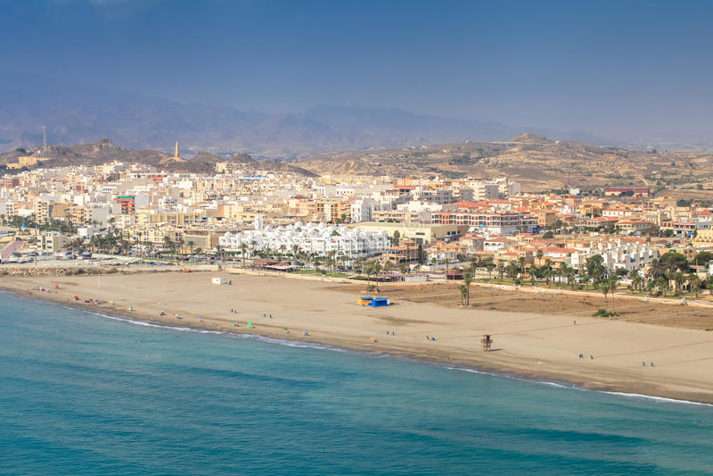 Spanish coast. Almería. Fantastic beaches to enjoy. Spanish coast. Aerial view. Almería, Andalucía. Fantastic beaches to enjoy. Mediterranean sea stock images
