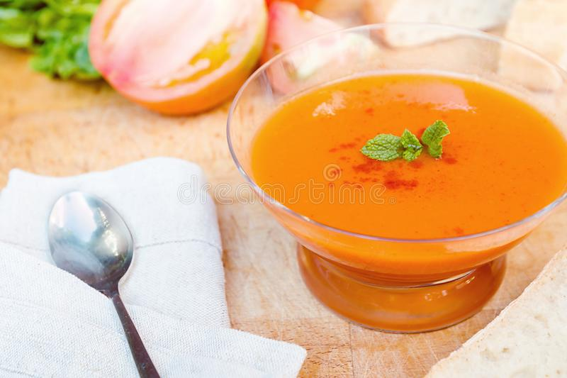 Spanish cold gazpacho soup royalty free stock photos