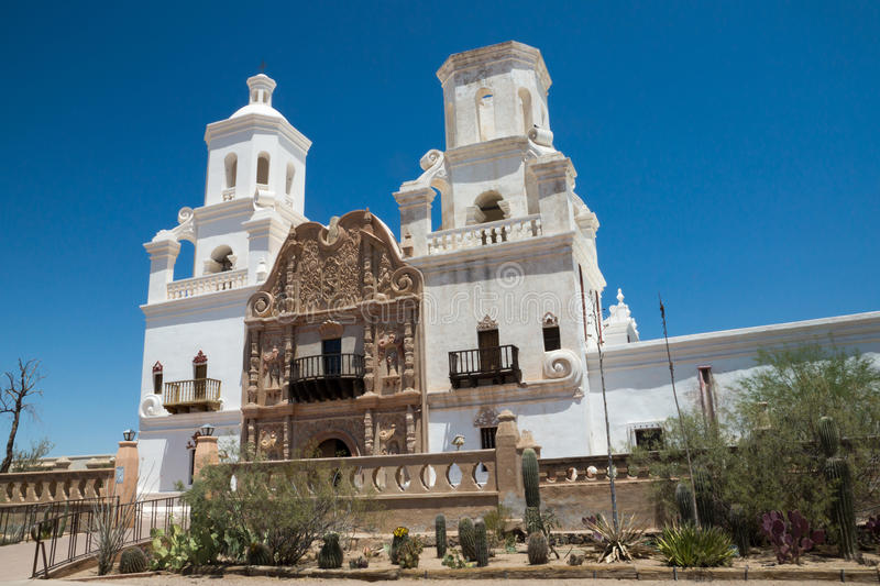 Spanish Colonial Mission in Arizona. The Spanish colonial Mission San Xavier del Bac has been preverved by the Tohon O'odham tribe and restored to its original stock image
