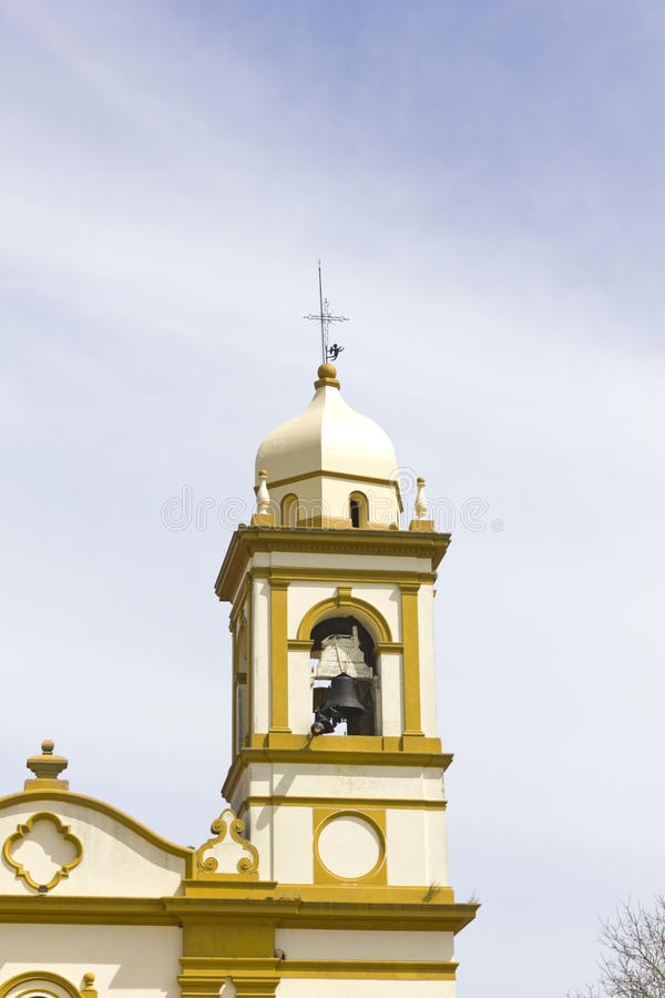 Spanish colonial-style bell tower. In the province of Rio Negro, Uruguay stock photos