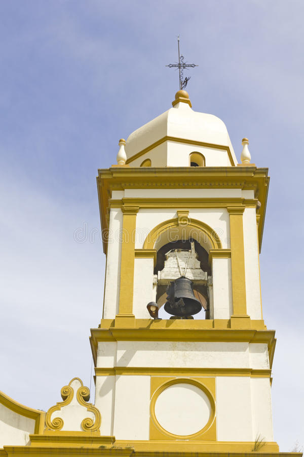 Spanish colonial-style bell tower. In the province of Rio Negro, Uruguay royalty free stock image