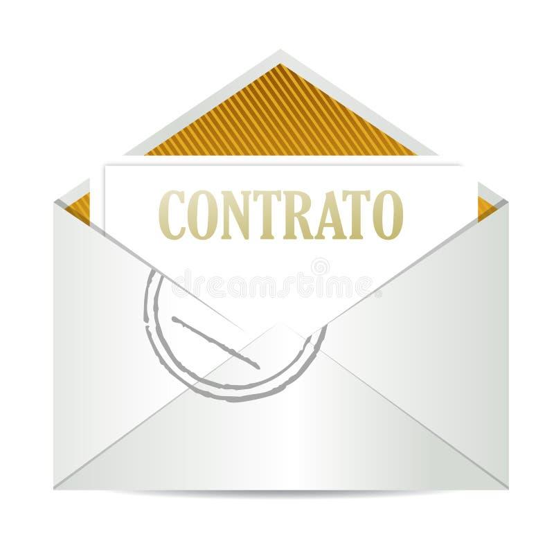 Spanish contract inside mailing envelope. Illustration design over white stock illustration