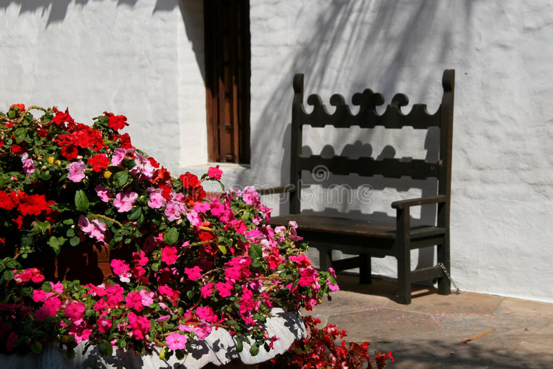 Download Spanish Courtyard stock image. Image of flowers, rest, stucco - 202335