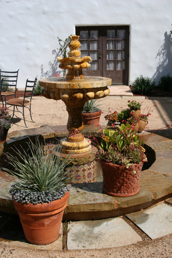 Download Spanish Courtyard Fountain stock photo. Image of tile, fountain - 98442