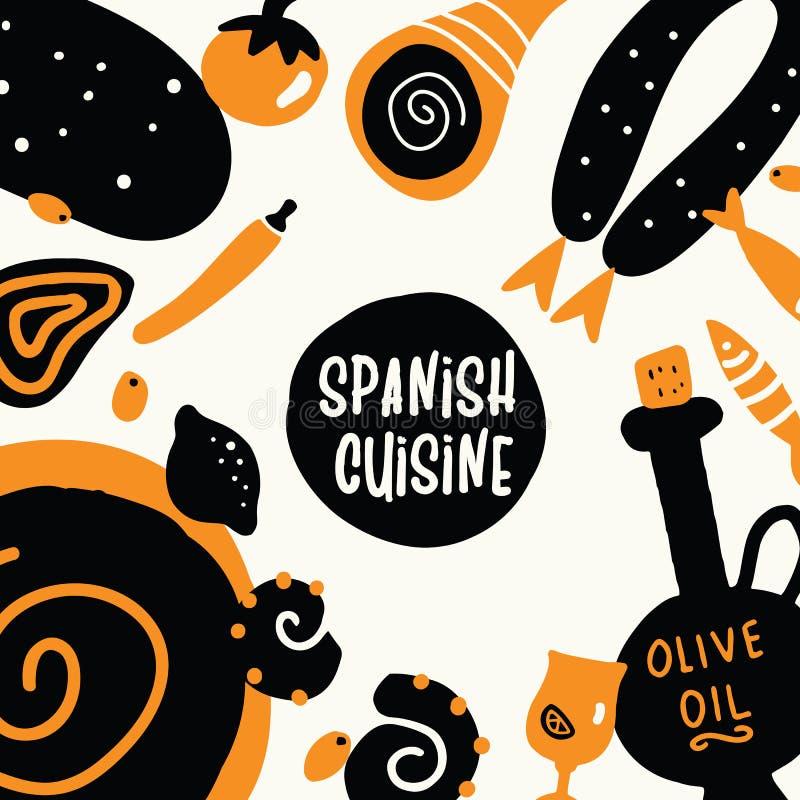 vector menu for spanish cuisine restaurant stock vector