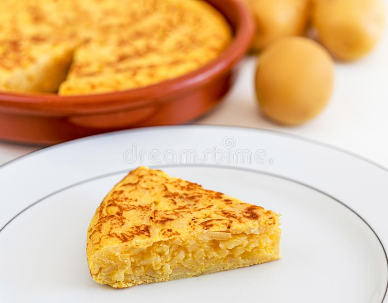 Spanish cusine - Omelet with eggs and potatoes. Traditional  Omelette tortilla tapas de patatas stock image