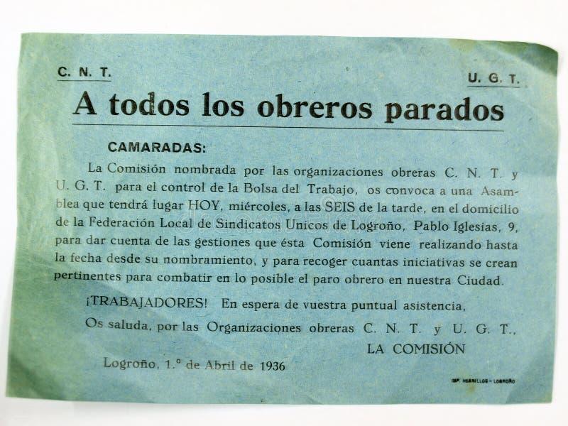 spanish cywilna wojna Prośba bezrobotni pracownicy CNT-UGT zdjęcia royalty free