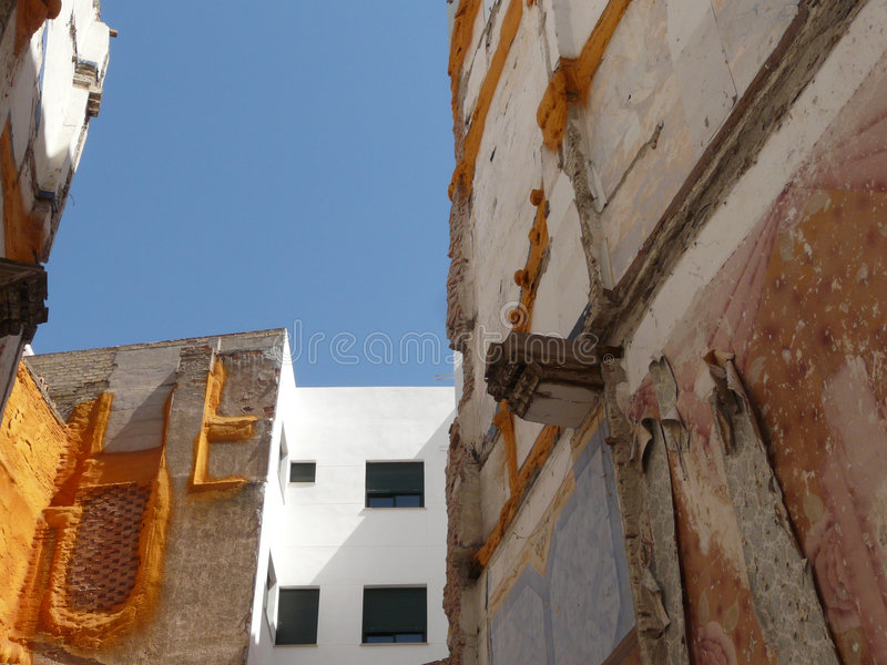 Spanish demolition. Demolished house in the center of Malaga, Andalucia royalty free stock image
