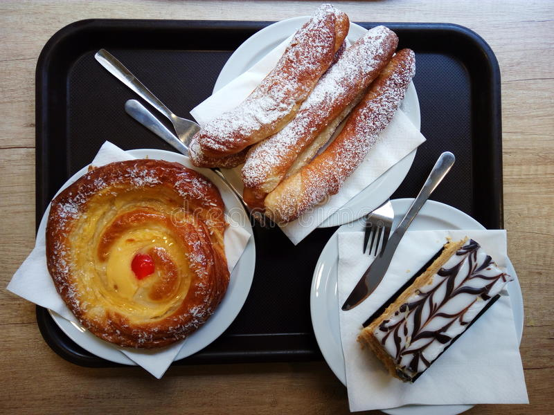 Spanish desserts on the plate royalty free stock photography