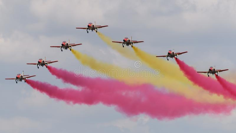 Spanish display team Patrulla Aguila in formation royalty free stock photography