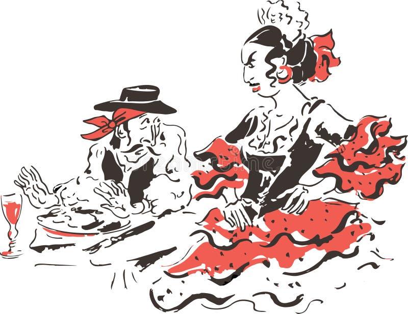 Download Spanish family at dinner stock vector. Illustration of black - 28137272