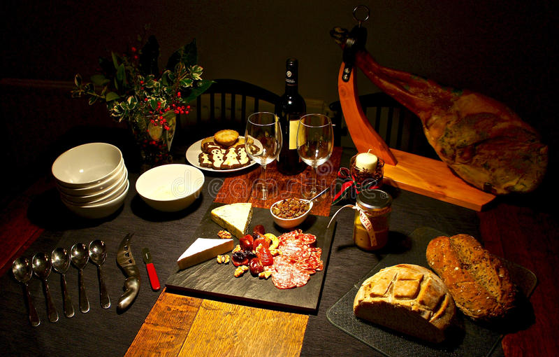 Spanish festive gourmet table, Christmas stock images