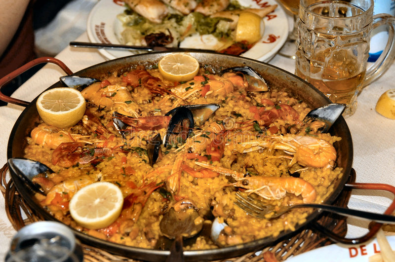 Spanish fish specialty. On a restaurant table royalty free stock photos