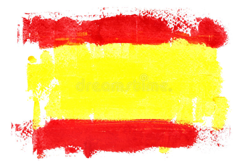 Spanish flag by brush strokes royalty free illustration