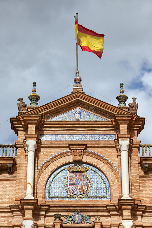 Spanish Flag and Crest on Plaza de Espana Pavilion in Seville stock image