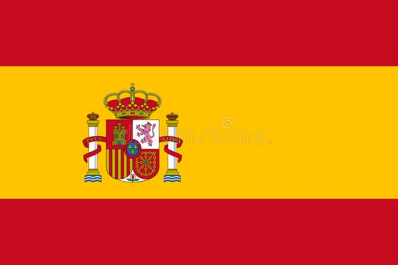 Spanish flag in official colors and with aspect ratio of 2:3 vector illustration