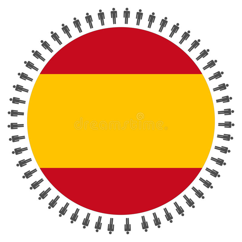 Spanish flag with people