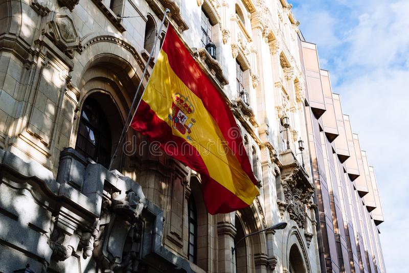 Spanish flag waving in Naval Museum of Madrid royalty free stock photos