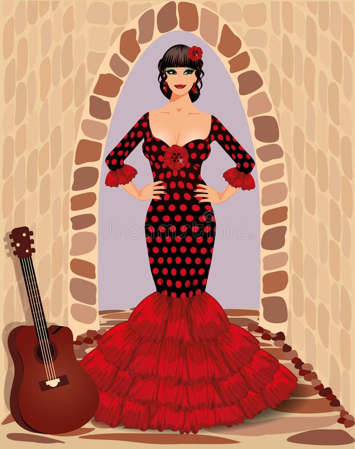 Download Spanish Flamenco Girl With Guitar Stock Vector - Image: 31045455