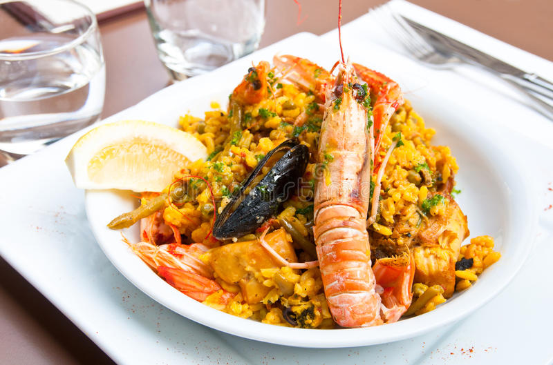 Spanish food paella. Prawn with rice - traditionnal spanish food paella stock image
