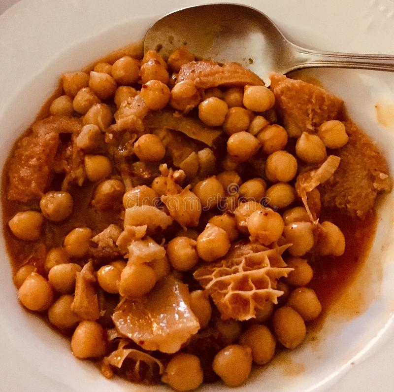Spanish food, tripe with chickpeas. stock image