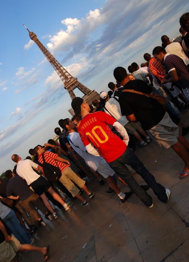 Spanish football fans in Paris royalty free stock photo