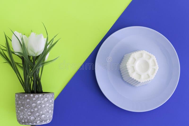 Spanish fresh cheese and white tulip stock photography