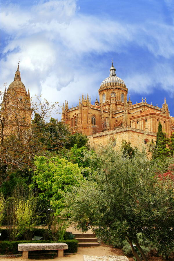 Spanish gardens and cathedral. A traditional Spanish garden, filled with mediterranean vegetation offers a cool and shady retreat for the priests from the grand stock photos