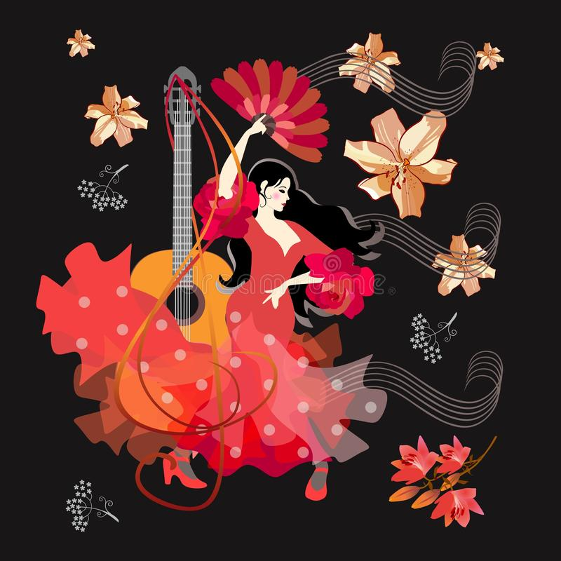 Spanish girl dressed in red dress, with fan in her hands, dancing flamenco against black background with falling flowers. Guitar royalty free illustration
