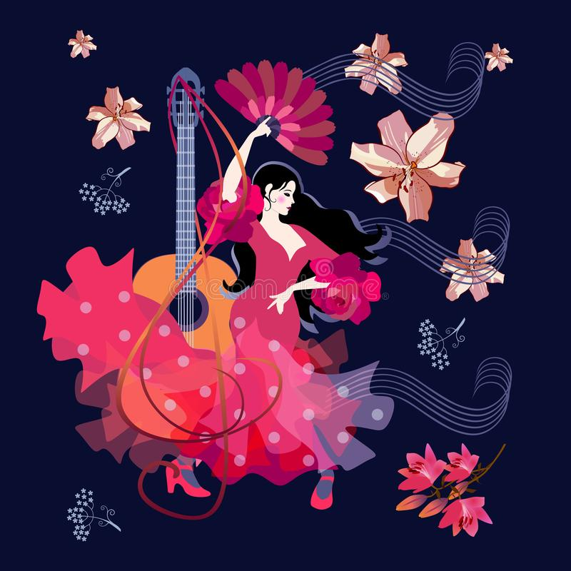 Spanish girl dressed in red dress, with fan in her hands, dancing flamenco vector illustration