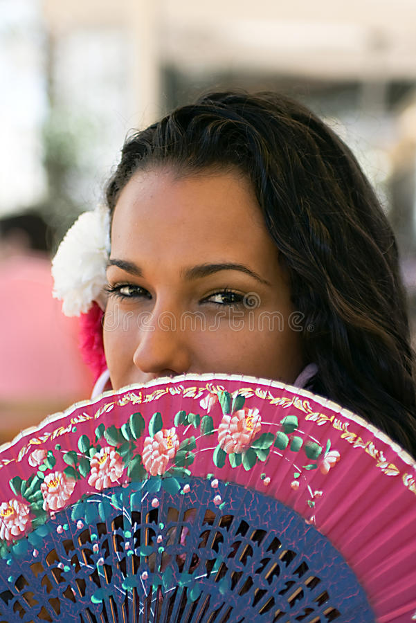 Download Spanish Girl With Fan At Feria Stock Photo - Image: 9413588