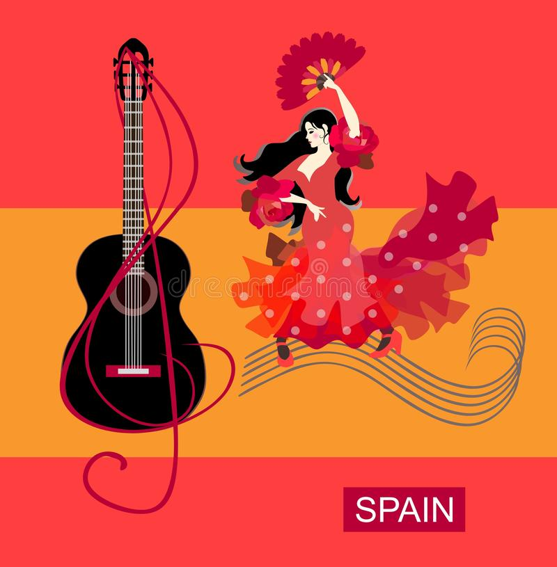 Spanish girl with fan in her hands, dressed in red dress, walks along  musical rulers and dances flamenco. stock illustration