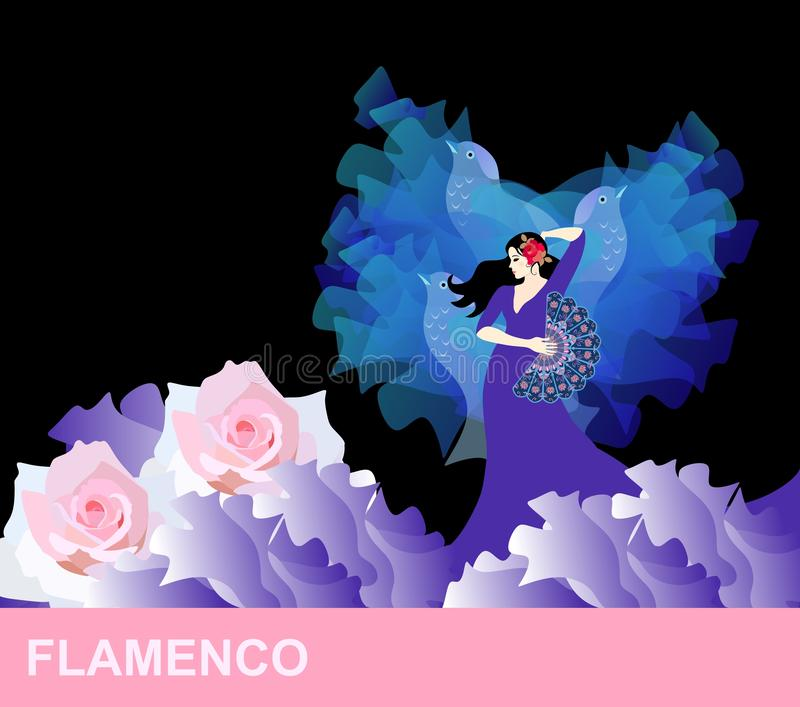 Spanish girl with rose in hair and fan in hand, is dancing flamenco. Hem of dress is like sea waves, foam on waves crest royalty free illustration