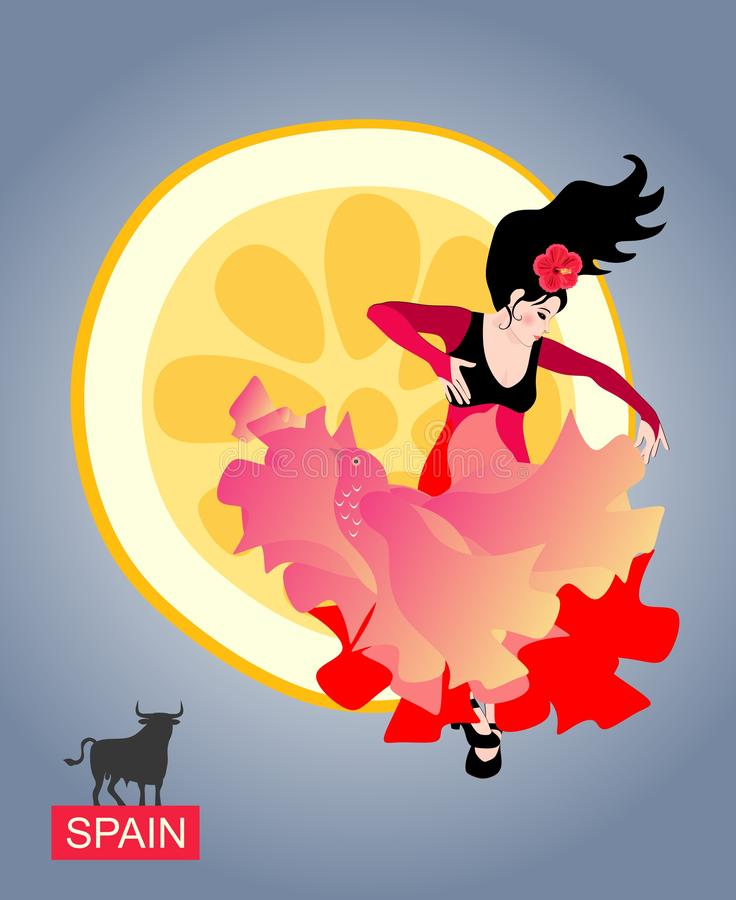 Spanish girl with a shawl, like a flying bird, dancing flamenco against the rising sun in the form of a piece of lemon. royalty free illustration