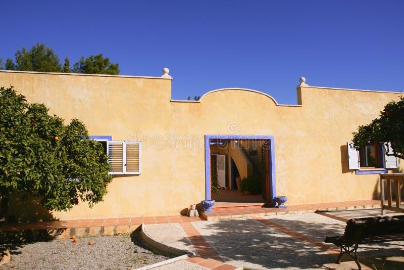 Spanish golden mediterranean courtyard house stock photography