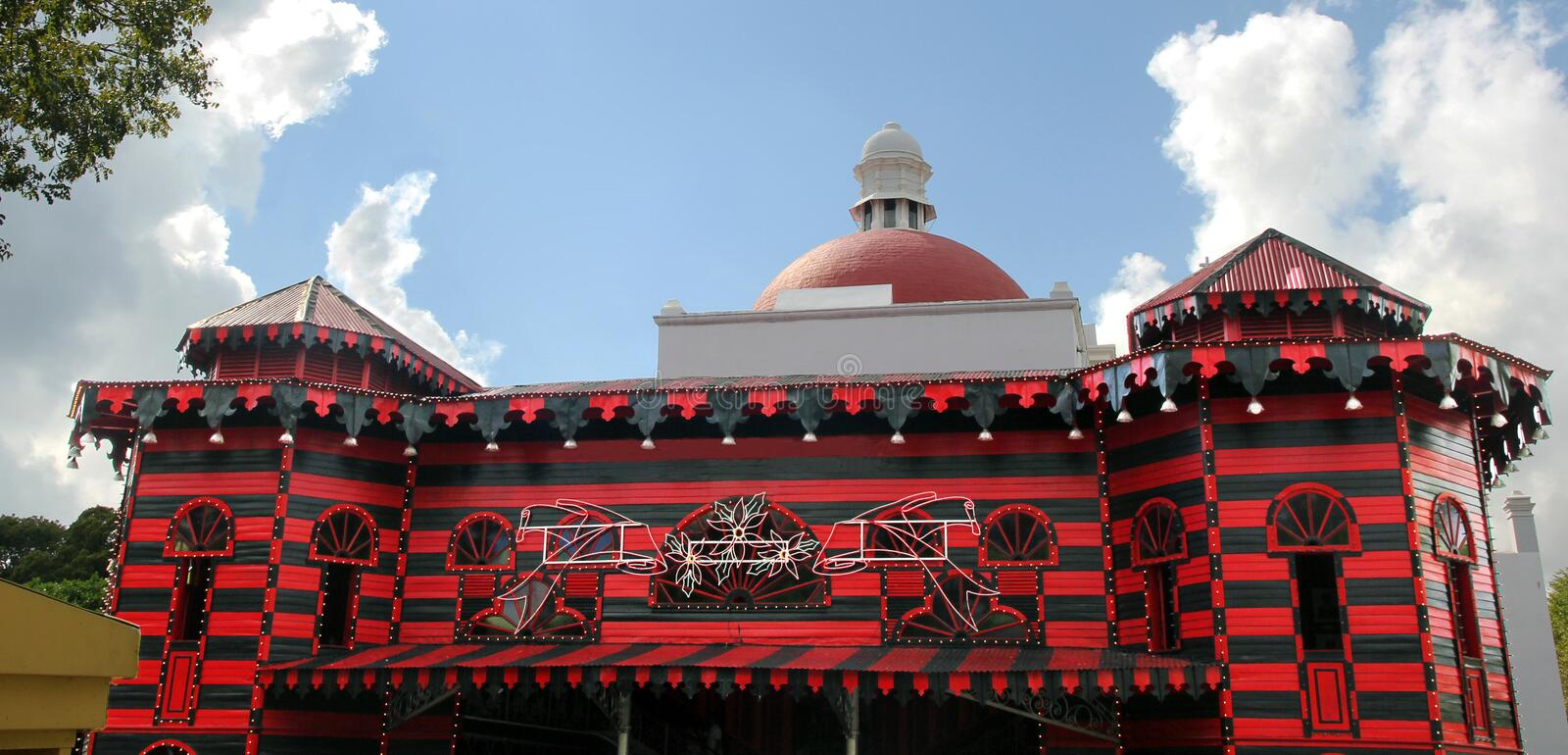 Spanish/Gothic style building. Parque De Bombas is a historic firehouse building in Ponce, Puerto Rico. In 1990 it converted into a fire-fighting museum.This is stock images