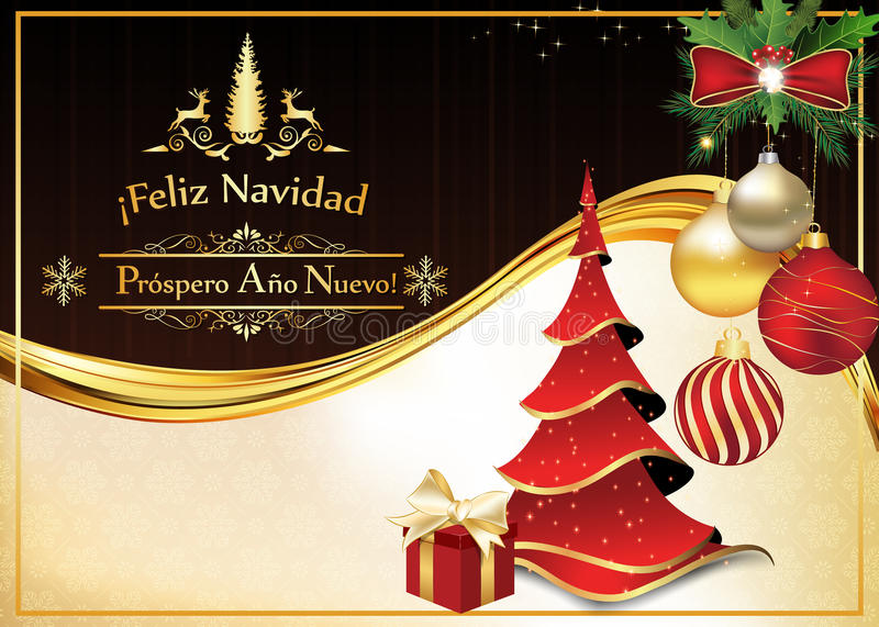 spanish greeting card for christmas and new year royalty free stock photo