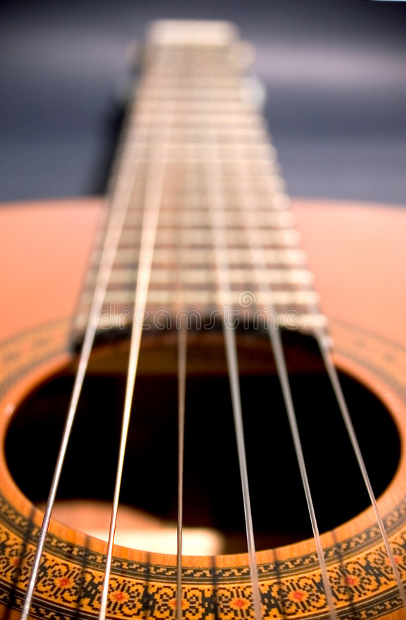 Spanish guitar perspective royalty free stock photos