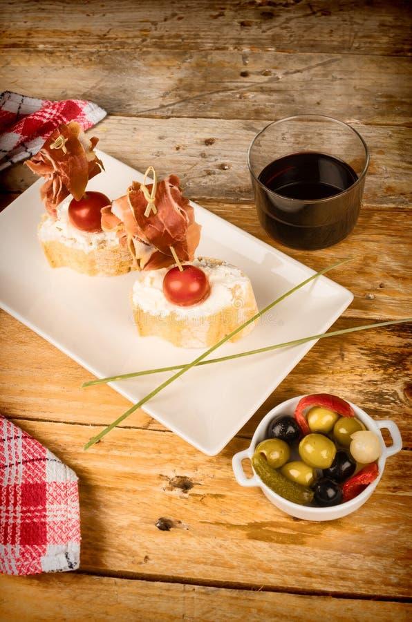 Spanish ham pintxo stock photos