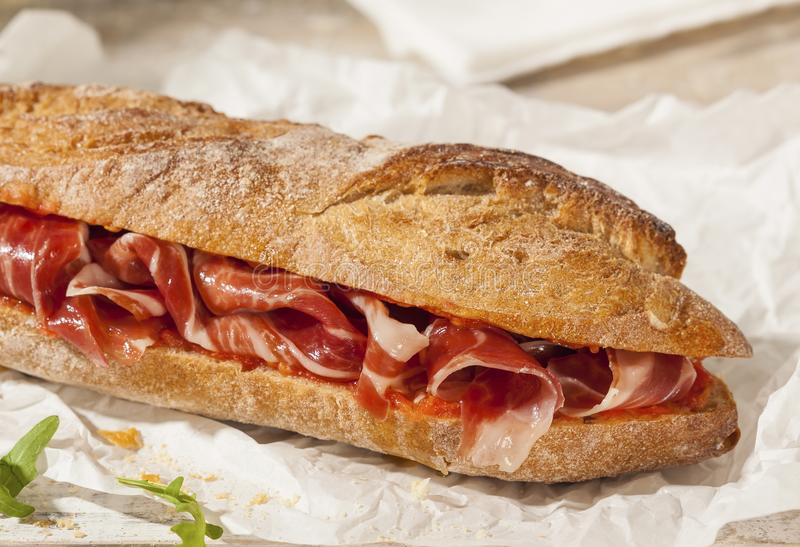 Spanish jamon ham sandwich royalty free stock images