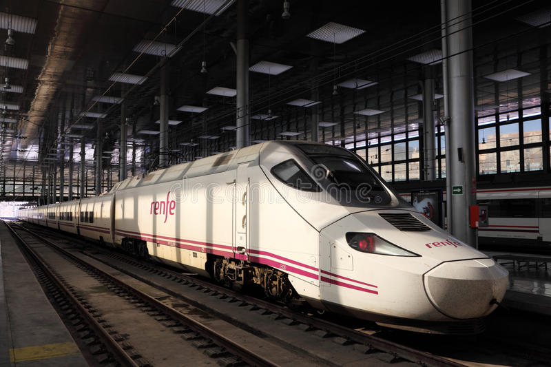 Spanish highspeed train AVE. (Alta Velocidad Espanola) in the station of Cadiz, Spain. Photo taken at 5th June 2012 royalty free stock image