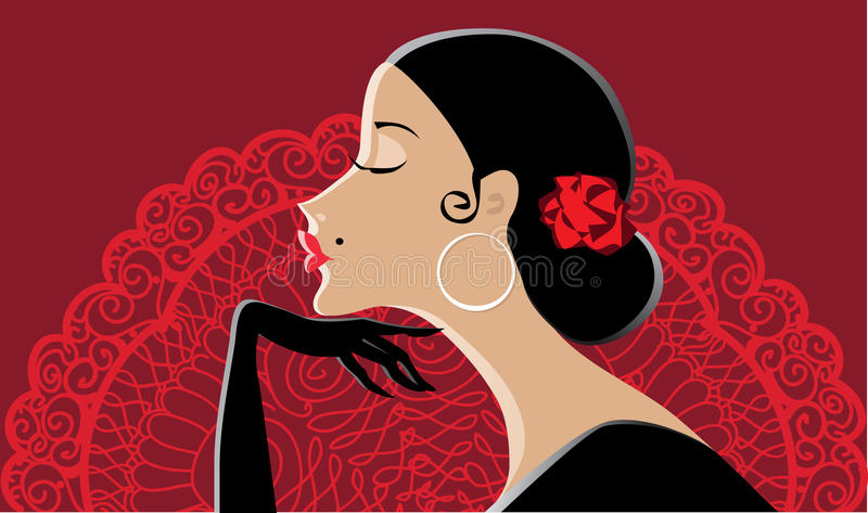 Download Spanish lady with fan stock vector. Image of rose, lace - 21699550