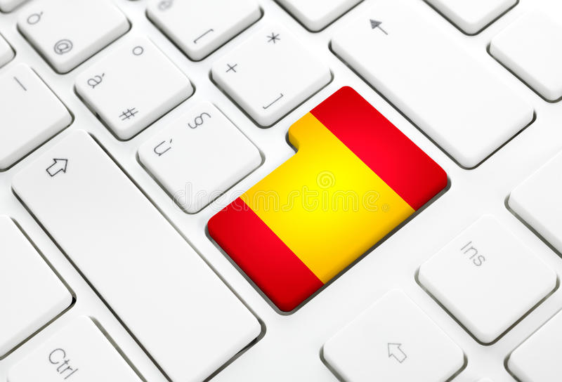 Spanish language or Spain web concept. National flag enter button or key on keyboard royalty free illustration