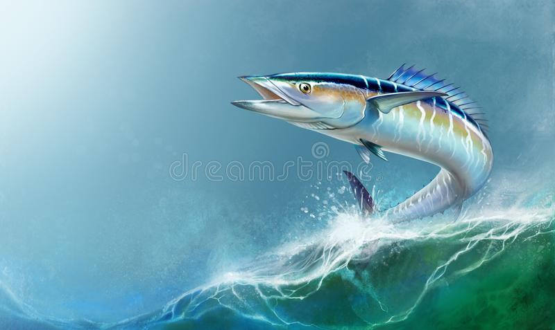 Spanish Mackerel big fish on the background of the waves realistic illustration. A large mackerel fish jumps out of the water place for text royalty free illustration